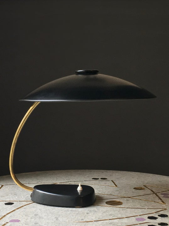 Image of Large Black and Brass Desk Lamp, 1962