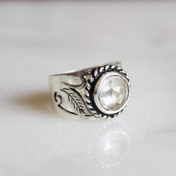 Image of Clear Quartz rose cut vintage style ring