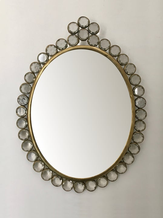 Image of Small Wall-Mounted Mirror with Decorative Frame