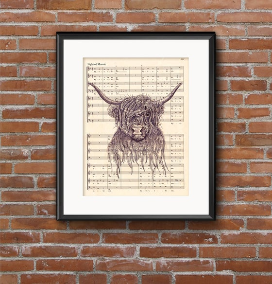 Image of Highland Moo-Sic - highland cow illustration on sheet music