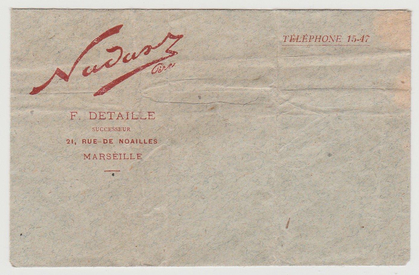 Image of Nadar Père: envelope of the Nadar studio, Marseille, ca. 1900