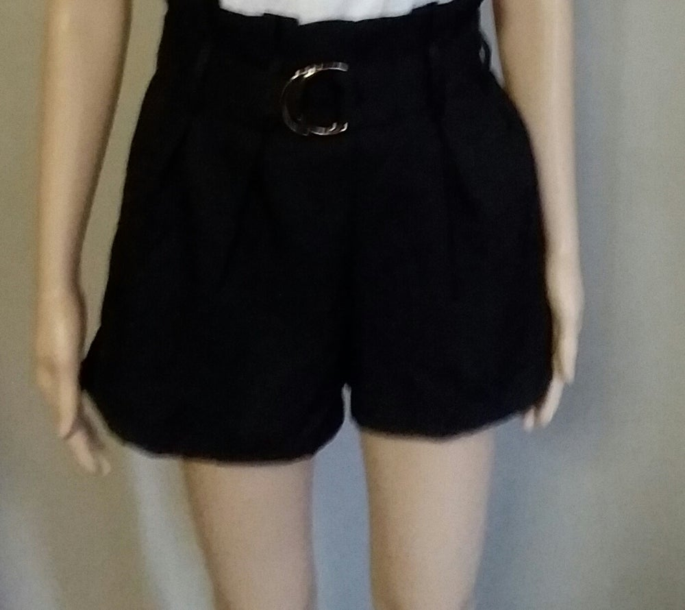 Image of Black paper bag waist shorts
