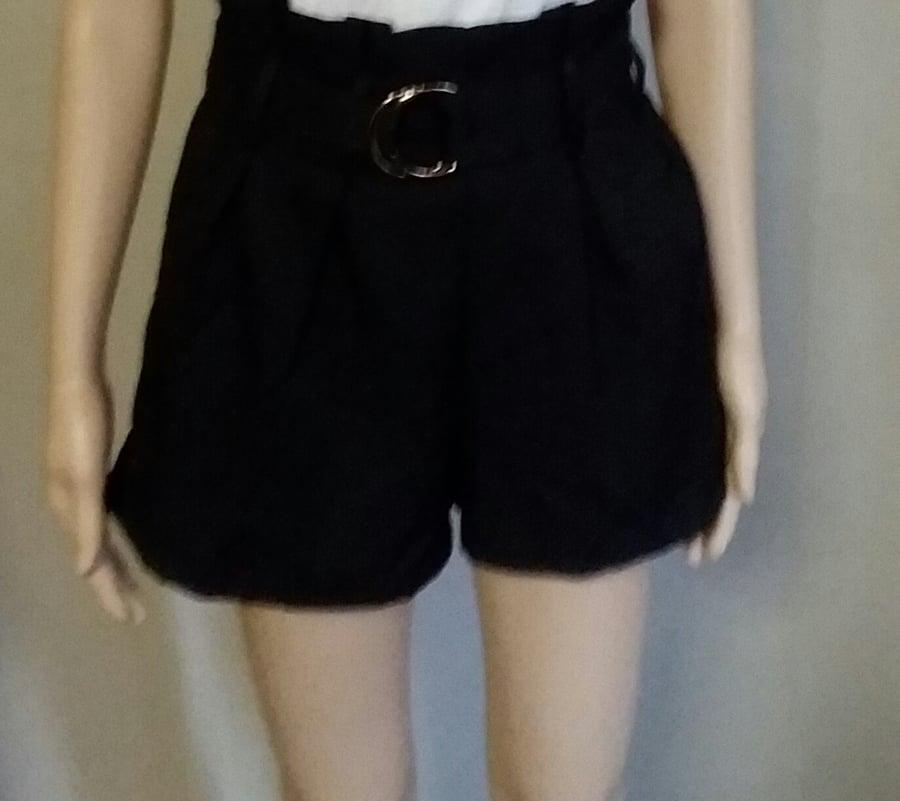 Image of Black paper bag waist shorts