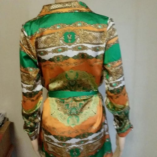 Image of Gold& Green Scarf Print Dress
