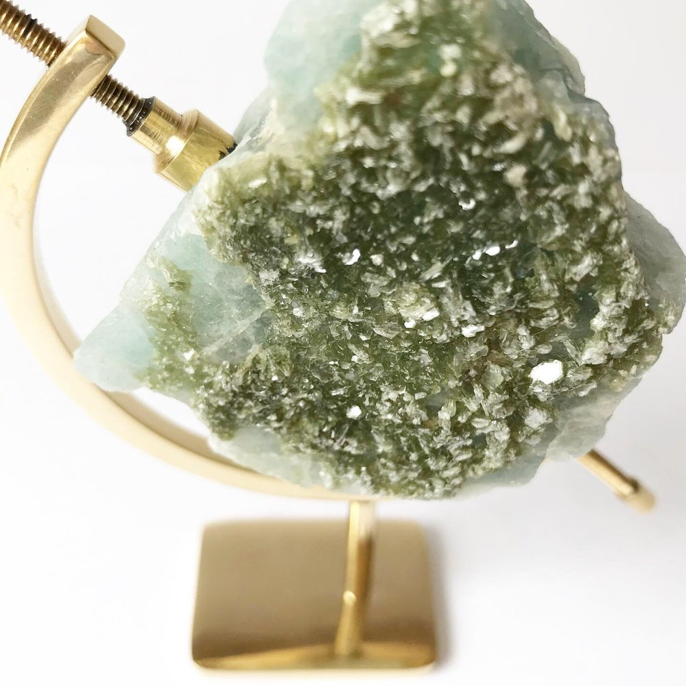 Image of Aquamarine no.26 + Brass Arc Stand
