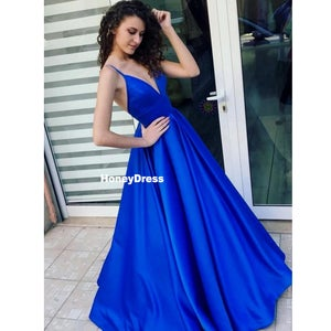 Image of Royal Blue Spaghetti Strap A-line Satin Prom Dress, Blue V-Neck Formal Evening Gown, Party Dresses