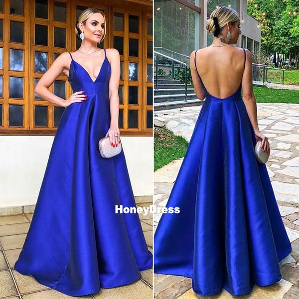 fac9db4050f Royal Blue Spaghetti Strap A-line Satin Prom Dress