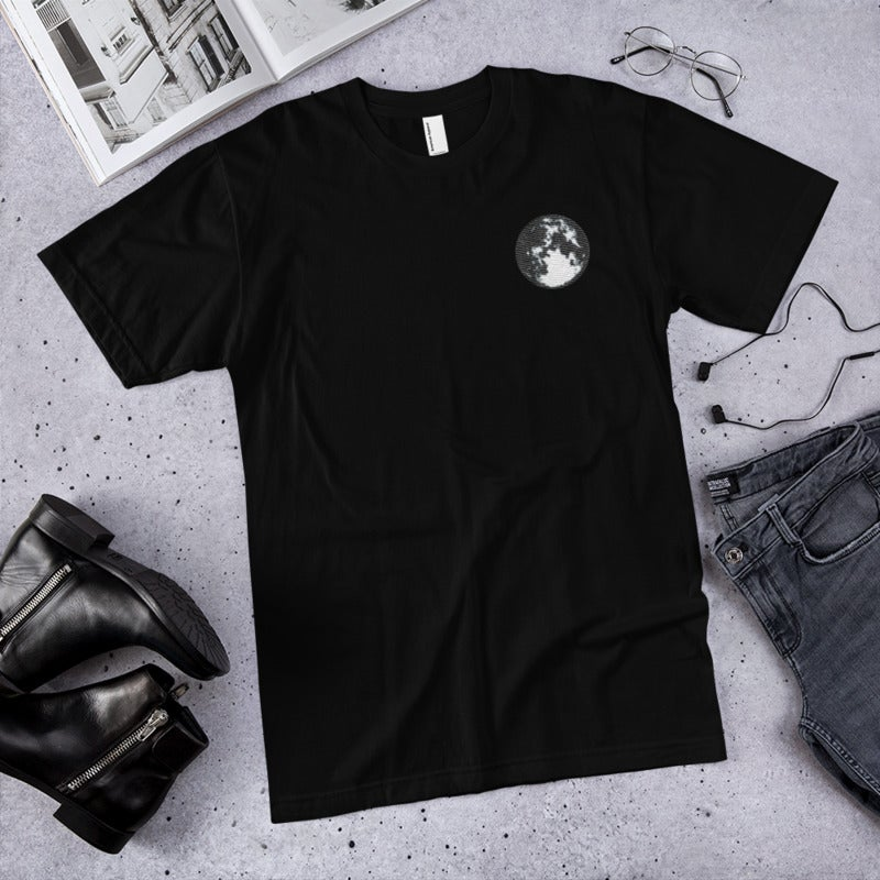 Image of Moon Tee - Black (Embroidered)