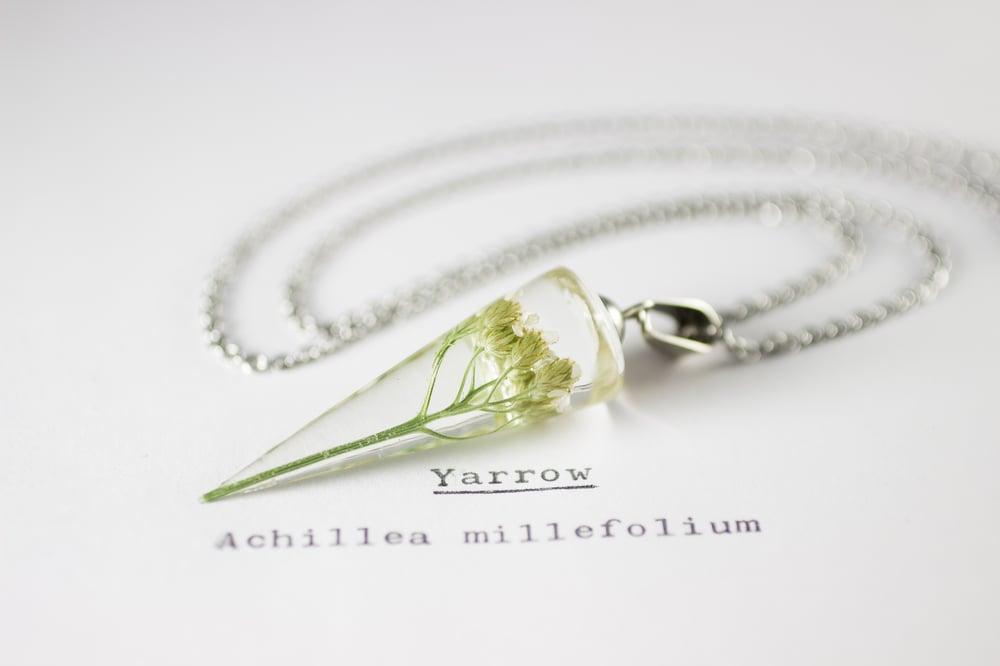 Image of Yarrow (Achillea millefolium) - Conical Pendant #2
