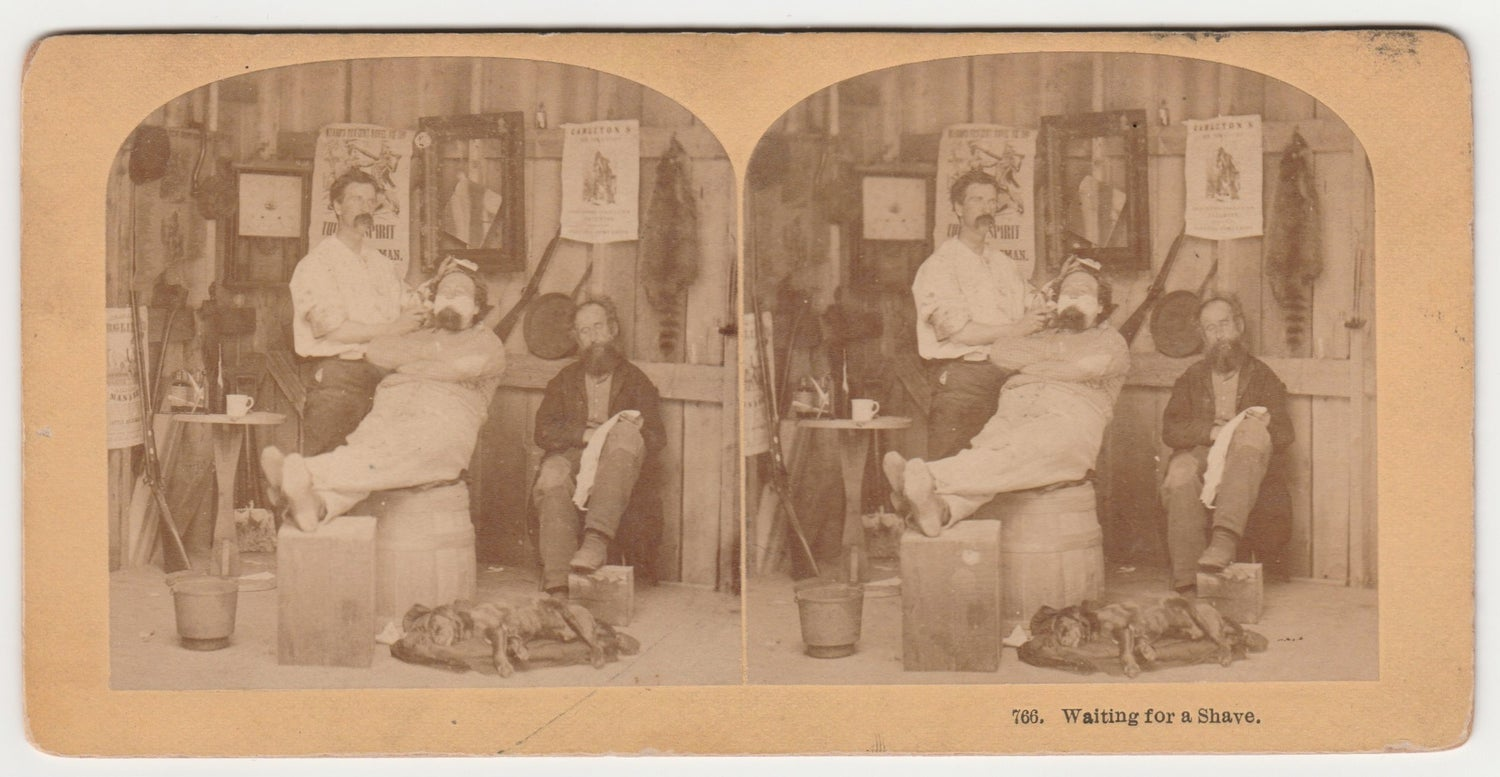 Image of KILBURN BROTHERS: Waiting for a Shave, stereoview