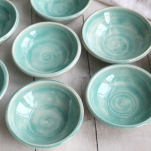 Image of Small Ceramic Bowls in Aqua Watercolor Glaze, Handcrafted Pottery Bowls, Made in USA
