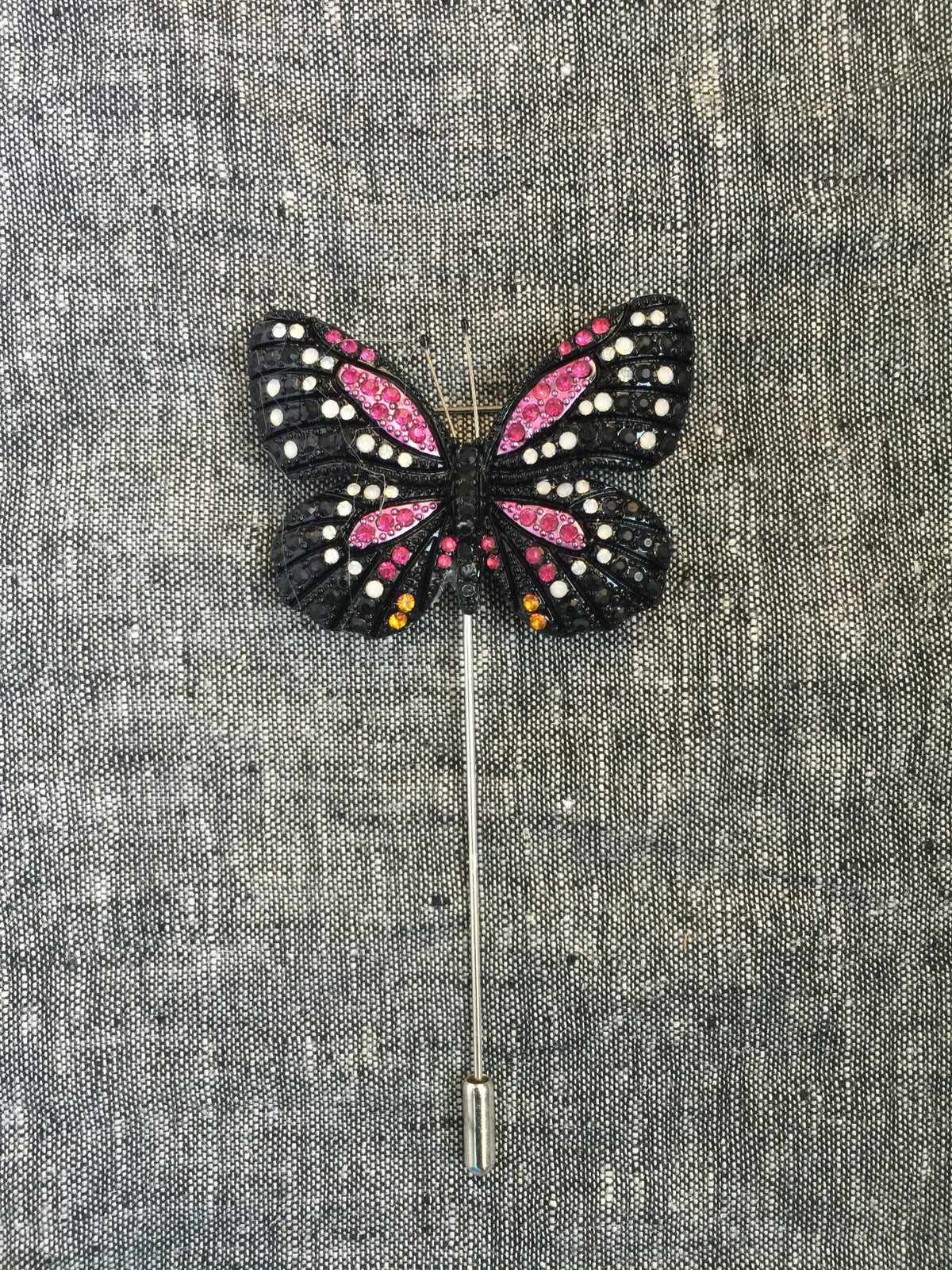 Image of Butterfly Lapel Pin (Pink, Black, White)