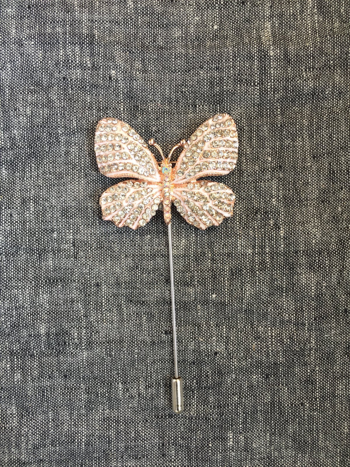 Image of Butterfly Lapel Pin (Blush, Silver)