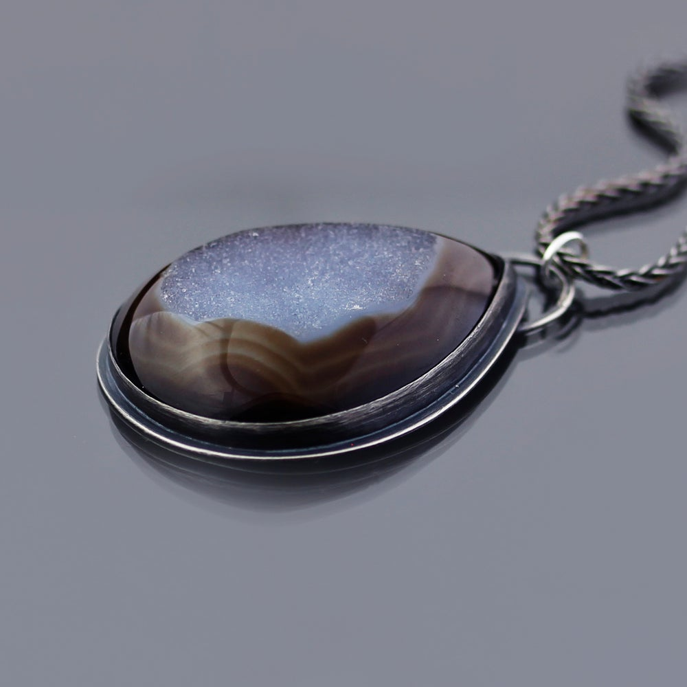 Image of Sterling Silver and Agate Druzy Necklace