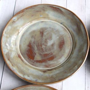 Image of Set of Four Ceramic Dinner Plates in Sage Green and Amber Brown Glaze, Handcrafted, Made in USA