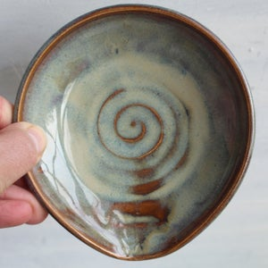 Image of Small Spoon Rest in Sage Green and Amber Brown Glaze, Pottery Made in USA