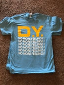 Image of no more feelings. light blue/ gold / white