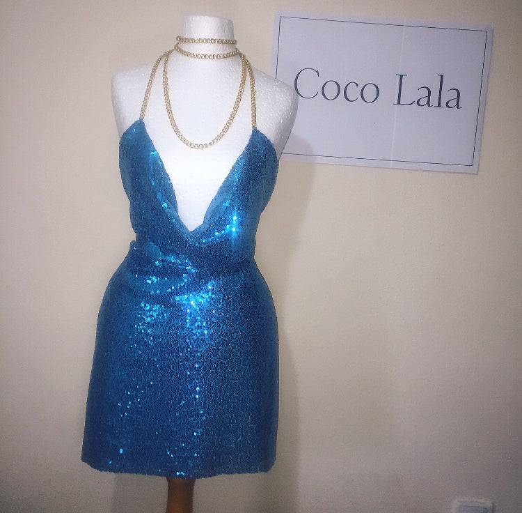 Image of Diamond Bubbles Blue Dress