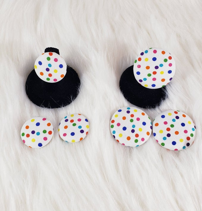 Image of Color Pop Button Earrings & Ring