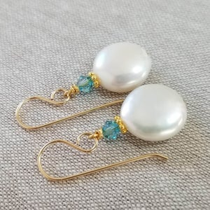 Image of White Coin Earrings (Gold)