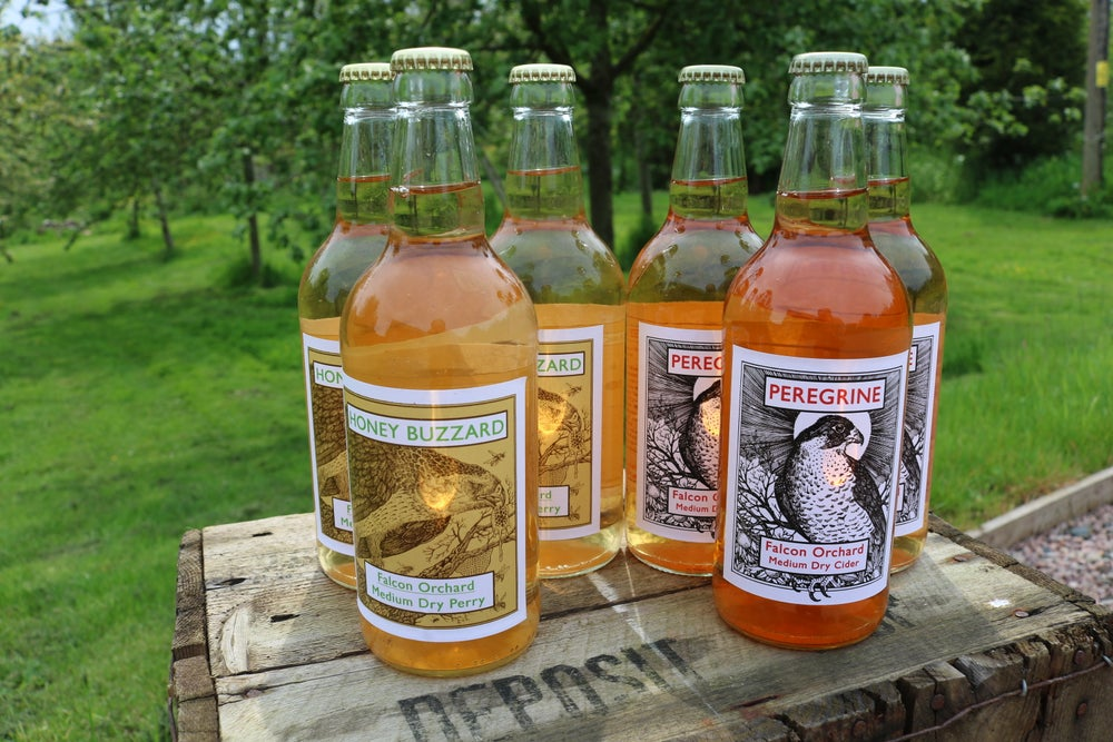 Image of Mixed Box Peregrine Cider and Honey Buzzard Perry. Product Natural 3x3