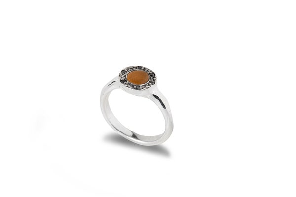 Image of Zenit ring with stone & black spinels