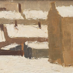 Image of 1950's Oil Painting, 'Snow,' Sven Nilsson