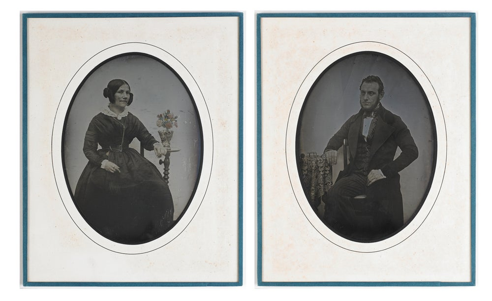 Image of rare 1/2 plate daguerreotype of a watchmaker and his wife, France ca. 1845