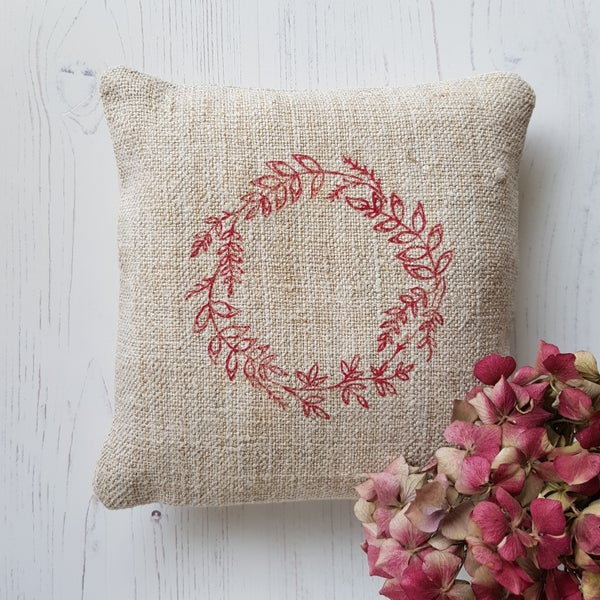 Image of Feather Filled Wreath Pillow