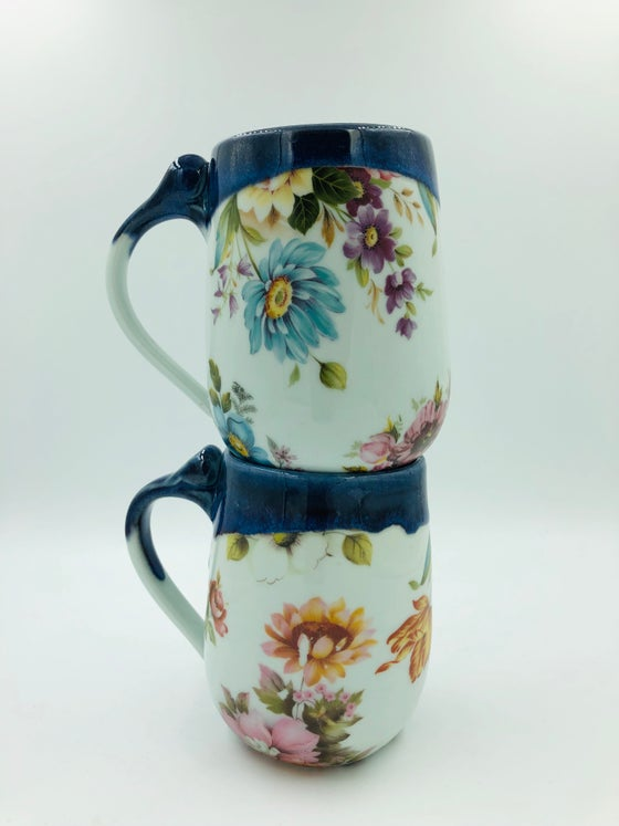 Image of Blue Floral Mugs