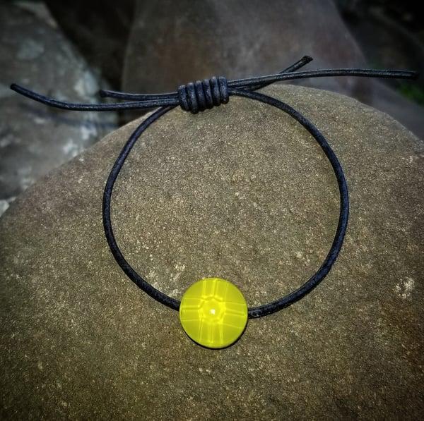 "Image of ""Cross Cut"" Adjustable Bracelet in Chartreuse"