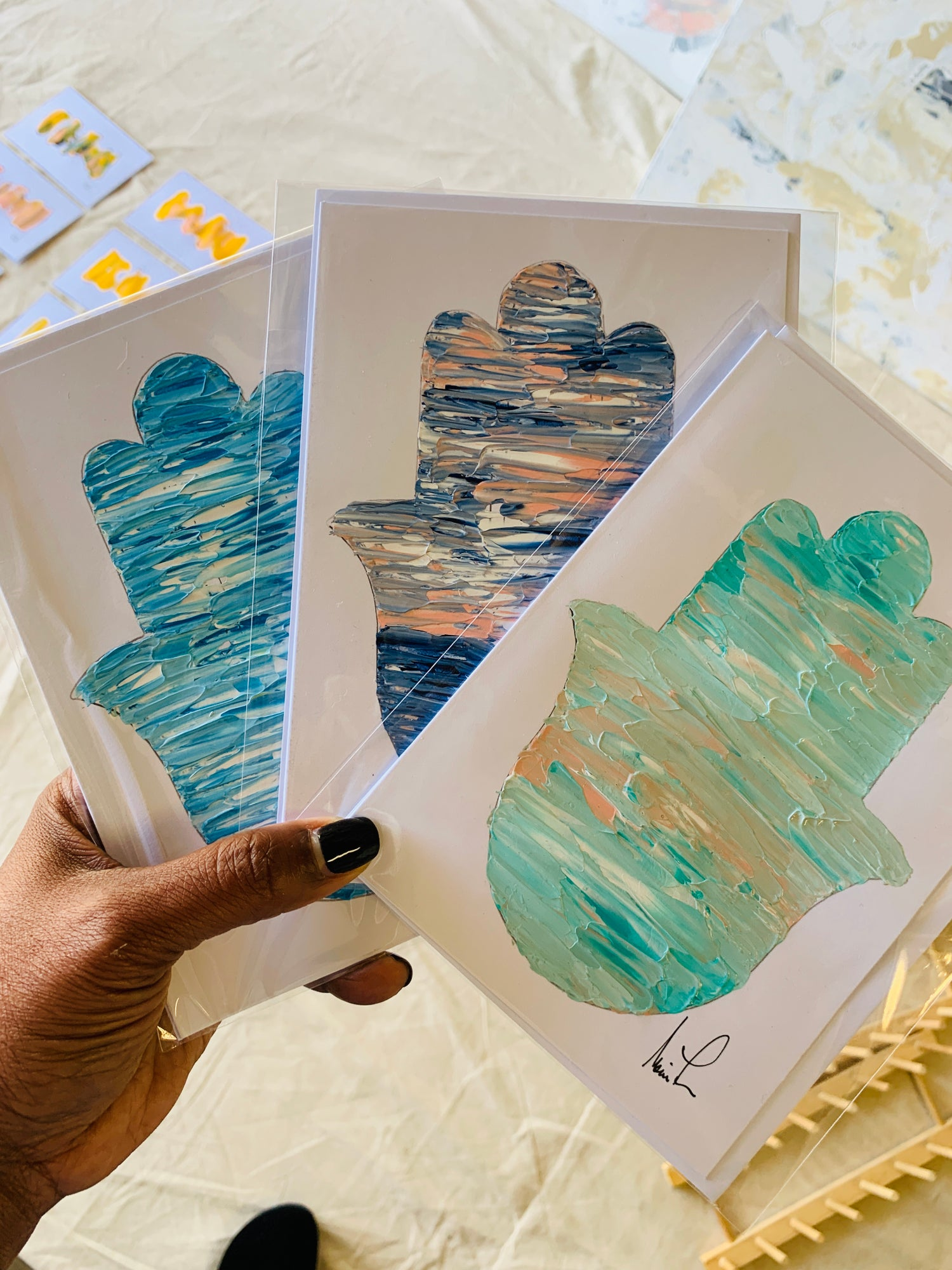 Image of  Hamsa 5x7 Hand Painted Cards (Color Options)