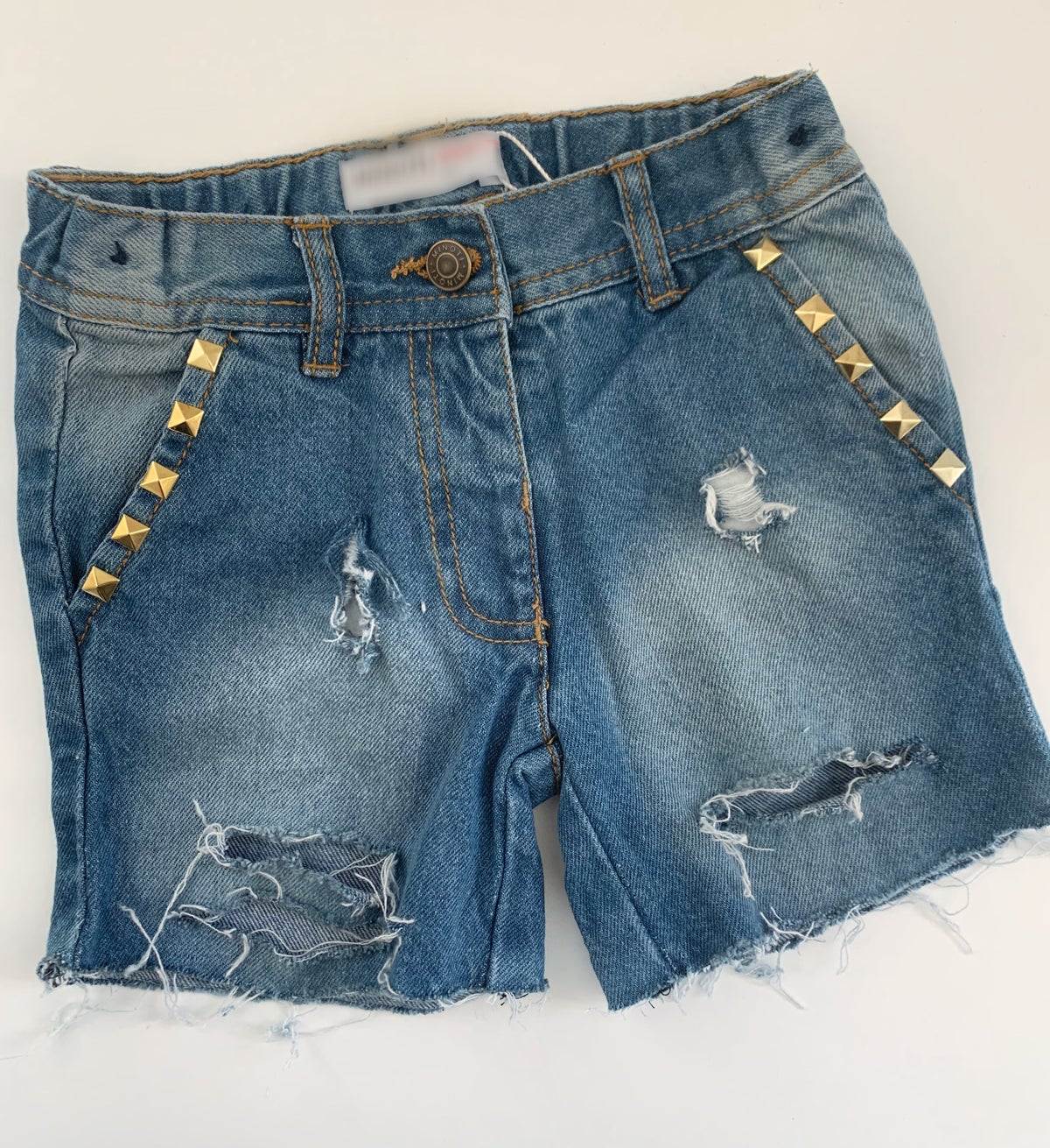 Image of Studded Distressed Shorts