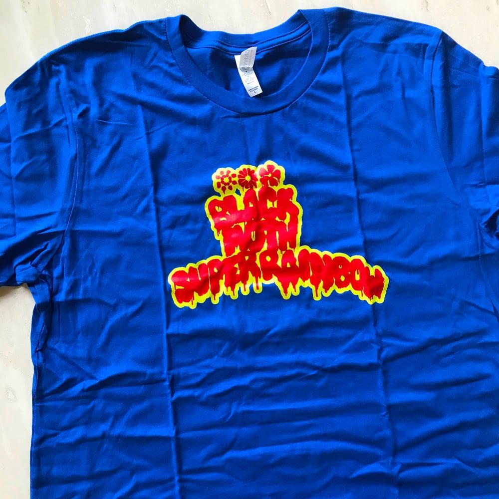 Image of Black Moth Super Rainbow Logo Tshirt Blue