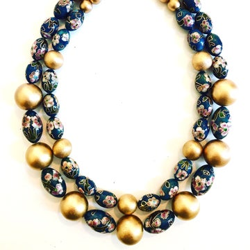Image of Teal Vintage Cloisonné Bead necklace