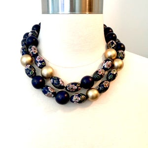 Image of Cobalt Blue Vintage Cloisonné Bead Necklace