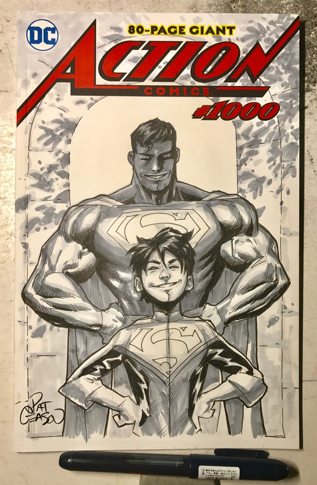 Image of Superman and Son-Action Comics 1000 sketch cover