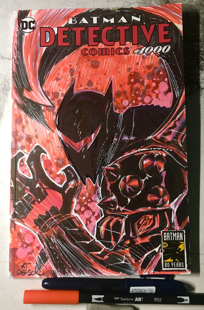 Image of Hell Bat Armor Batman, Detective Comics 1000 sketch cover