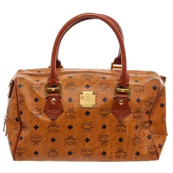 Image of MCM Tan Cognac Visetos Brown Leather Trim Vintage Boston Bag