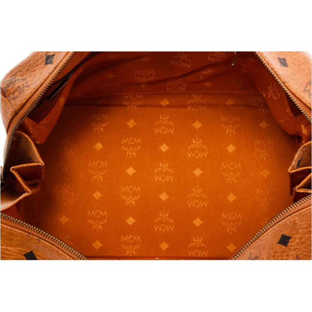 Image of MCM Tan Cognac Visetos Brown Leather Trim Vintage Boston Bag
