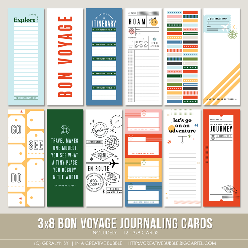 Image of 3x8 Bon Voyage Journaling Cards (Digital)