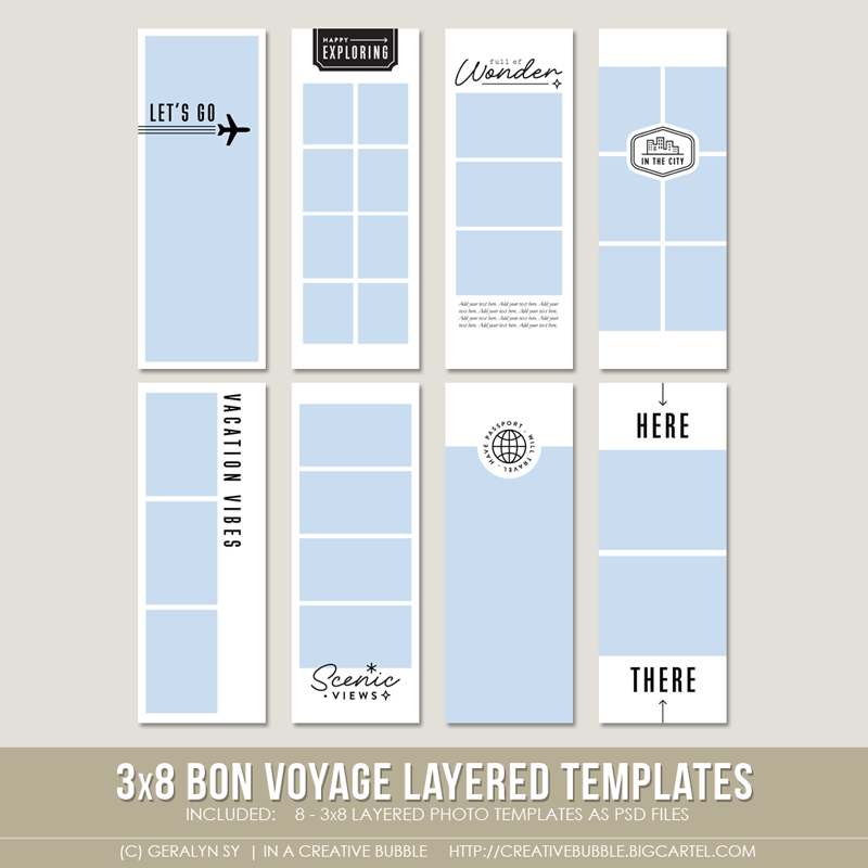 Image of 3x8 Bon Voyage Layered Photo Templates (Digital)