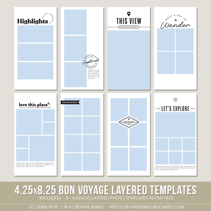 Image of 4.25x8.25 Bon Voyage Layered Photo Templates (Digital)