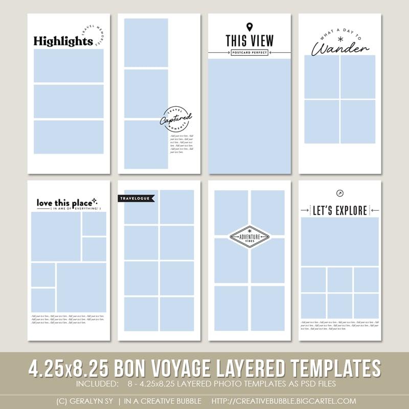 Image of 4.25x8.25 Bon Voyage Layered Photo Templates (Digital)