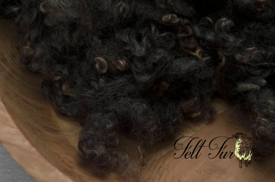 Image of Brown Basket filler, Newborn Photo Prop Fluffy Wool Curls - Fluffy & Curly Mix (329) RTS