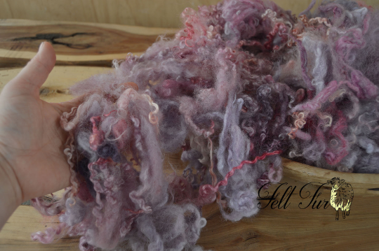 Image of Pink Basket Filler, Purple Lilac Fluffy Curls, Baby Wool Prop (457), Newborn Photo Prop. RTS