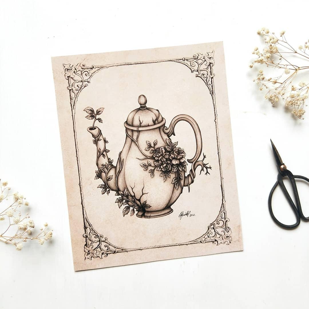 Image of Overgrown Teapot - ART PRINT