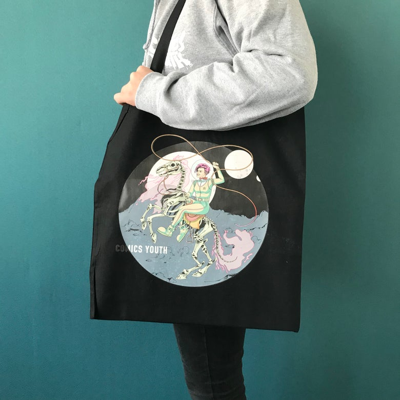 """Image of """"Space Cow Girl"""" Tote Bag by Jen Cool."""
