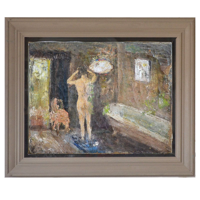 Image of Early 20thC, Oil Painting on Canvas, 'Parisienne Bather.'