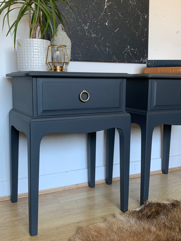 Image of A pair of stag bedside tables in dark grey